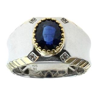 Michael Valitutti Men's Palladium Silver 1/5ct TDW Diamond and Kyanite Ring (D-E)
