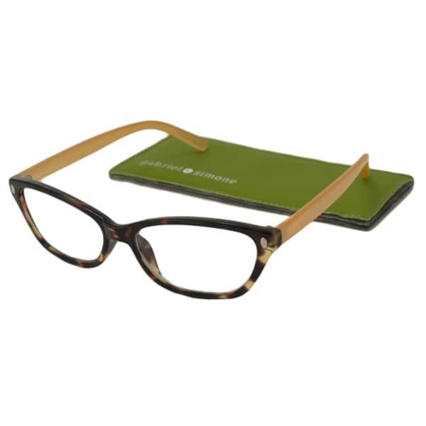 bd71ff0f90c68 Gabriel + Simone Women  x27 s Aimee Tortoise Peach Plastic Rectangular  Reading Glasses