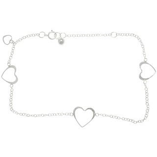 Carolina Glamour Collection Sterling Silver Open Hearts Dangle Anklet
