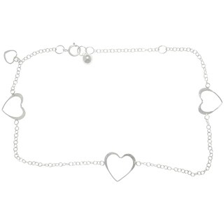 Sterling Silver Open Hearts Dangle Anklet