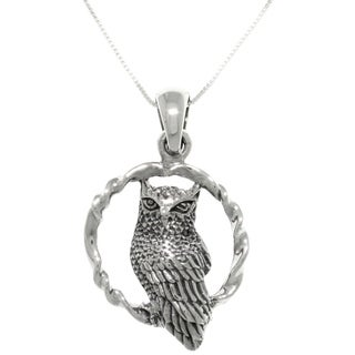 Carolina Glamour Collection Sterling Silver Wise Owl on Swing Pendant Necklace