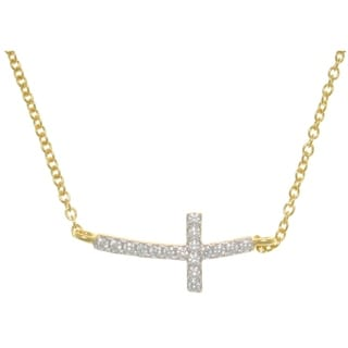 Sterling Silver and Gold Vermeil Bar Design Pave Cubic Ziconia Cross Necklace