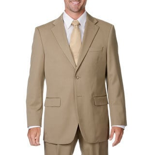 Cianni Cellini Men's Big & Tall Tan Wool Gabardine Suit