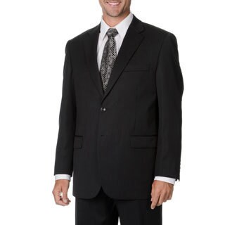 Cianni Cellini Men's Big & Tall Charcoal Wool Gabardine Suit (More options available)