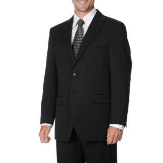 Cianni Cellini Men's Big & Tall Black Wool Gabardine Suit