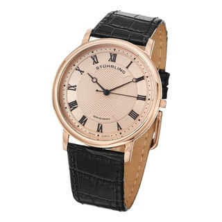 Stuhrling Original Men's Swiss Quartz Classique 45 Leather Strap Watch