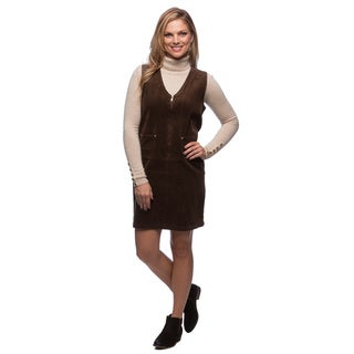 Live A Little Women's Brown Corduroy Zip Front Dress