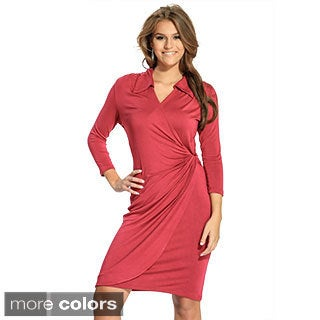 Amelia Women's Collared Mock-wrap Dress