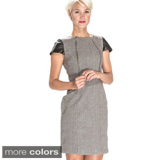 Amelia Women's Herringbone and Leatherette Sheath Dress