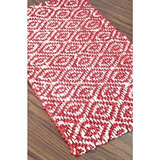 Red Handspun Diamond Weave Jute Rug (2' x 3')