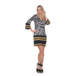White Mark Women's 'Madelyn' Zebra Print Dress