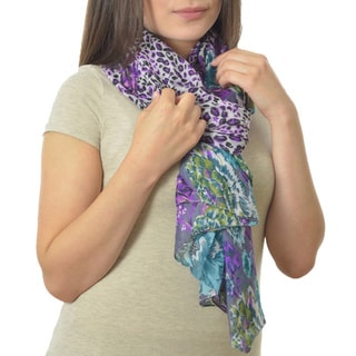 Purple Leopard and Floral Print Lightweight Scarf