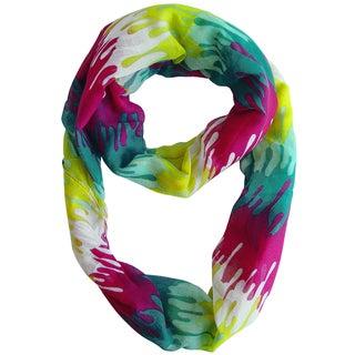 Abstract Fuchsia and Yellow Paint Design Loop Scarf