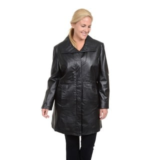 Excelled Women's Plus Black Leather Pencil Coat with Convertible Collar