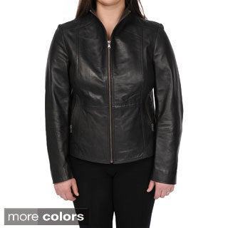 Excelled Women's Lambskin Leather Fitted Scuba Jacket