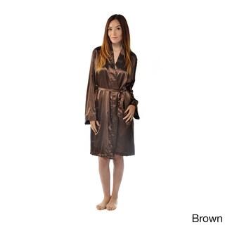 Leisureland Satin Charmeuse Knee-length Kimono Robe (Option: Brown)