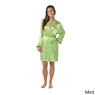 Leisureland Satin Charmeuse Knee-length Kimono Robe (Option: Mint)