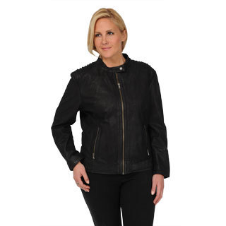 Excelled Women's Plus Black Sueded Leather Scuba Jacket