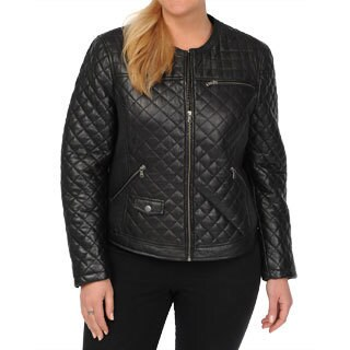 Excelled Women's Plus Black Lambskin Quilted Scuba Jacket