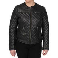 Excelled Women's Black Lambskin Quilted Scuba Jacket