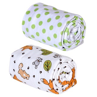 Trend Lab Forest Animal and Sage Dot Print Flannel Swaddle Blankets (Pack of 2)