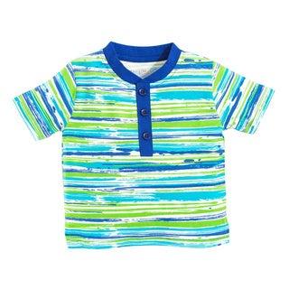 Tumblewalla Boy's Beach Stripe Organic Henley T-shirt