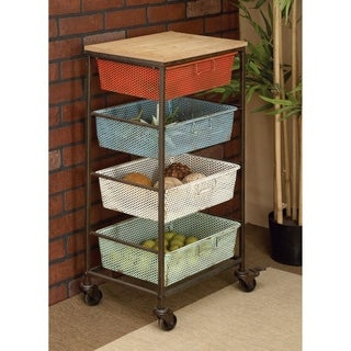 Distressed Metal 6-basket Cart