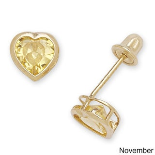 14k Yellow Gold Choice of Birthstone 5mm Heart-shaped Cubic Zirconia Screw-back Earrings