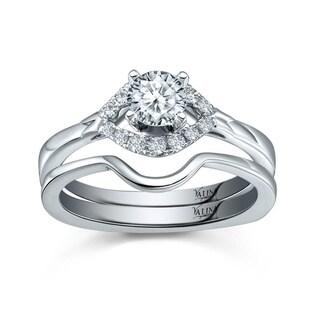 Valina Designer 14k White Gold 1/2ct TDW Round Diamond 2-piece Bridal Ring Set