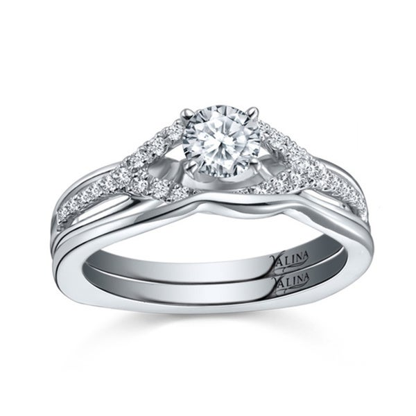 14k White Gold Valina Designer Diamond Bridal Ring Set