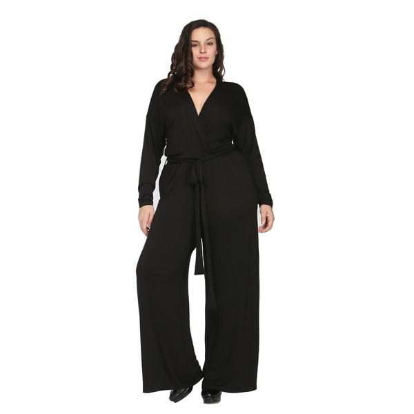 24/7 Comfort Apparel Women's Plus Size Deep V-neck Jumpsuit