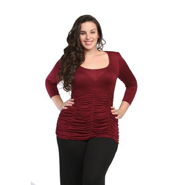 24/7 Comfort Apparel Women's Plus Size Shirred Top