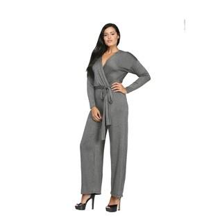 24/7 Comfort Apparel Women's Deep V-neck Jumpsuit
