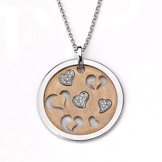 DFAC 14k Rose Gold 1/10ct TDW White Diamond Hearts Disc Necklace (H-I, SI1-SI2)