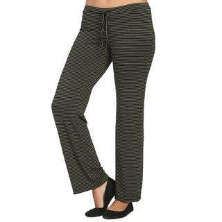 24/7 Comfort Apparel Women's Striped Drawstring Narrow Pants