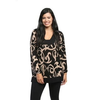 24/7 Comfort Apparel Women's Cream and Black Abstract Printed Tunic