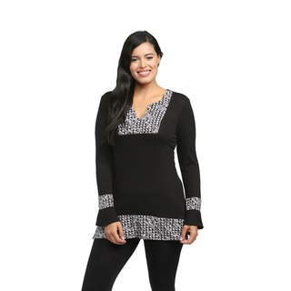 24/7 Comfort Apparel Women's Pattern Trimmed Tunic