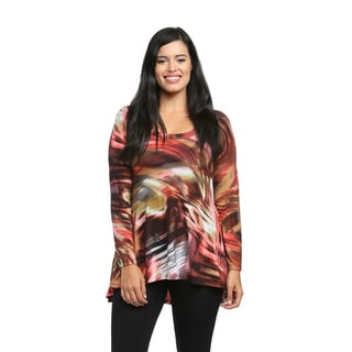 24/7 Comfort Apparel Women's Rustic Watercolor Printed Tunic