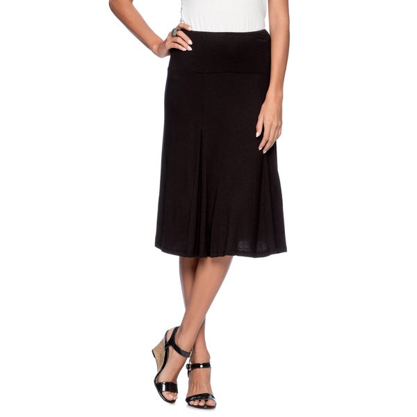 a8ad60f8588f Shop 24/7 Comfort Apparel Women's Black Calf-length Skirt - On Sale ...