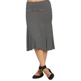 24/7 Comfort Apparel Women's Striped Calf-length Skirt