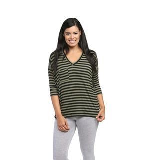 24/7 Comfort Apparel Women's Green Striped Dolman Top