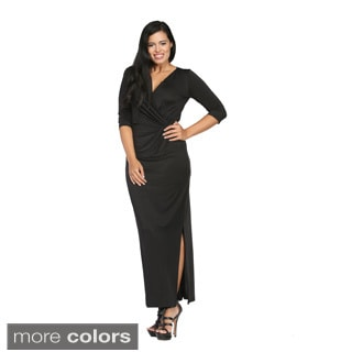 24/7 Comfort Apparel Women's Long V-neck Wrap Dress