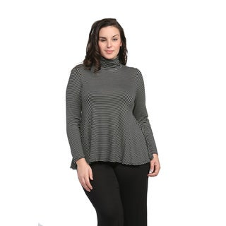 24/7 Comfort Apparel Women's Plus Size Striped Turtleneck Sweater