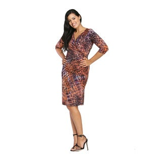 24/7 Comfort Apparel Women's Spotted Plaid Dress