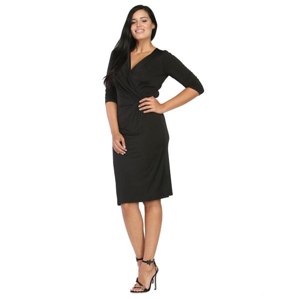 24/7 Comfort Apparel Women's Black 3/4-sleeve Wrap Dress