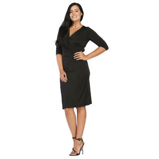 24/7 Comfort Apparel Women's Black 3/4-sleeve Wrap Dress
