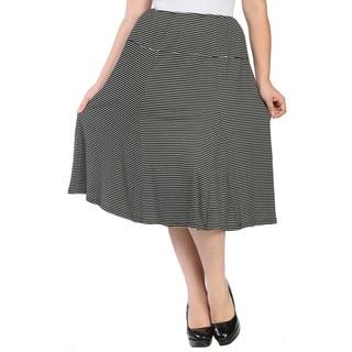 24/7 Comfort Apparel Women's Plus Size Striped Calf-length Skirt