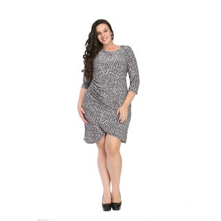 24/7 Comfort Apparel Women's Plus Size Geometric Print Dress