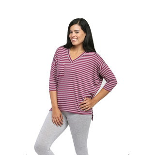 24/7 Comfort Apparel Women's Magenta Striped Oversized Dolman Top