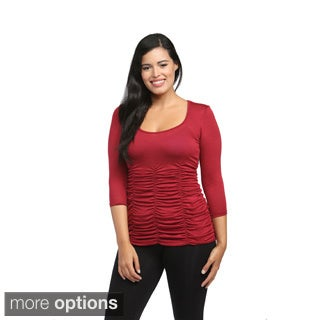 24/7 Comfort Apparel Women's 3/4-sleeve Shirred Top